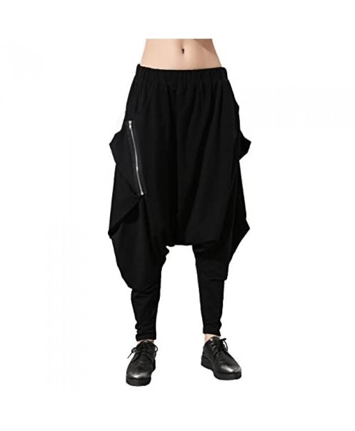 ellazhu Women Black Unique Design Pockets Harem Hippie Hip-hop Pants GY1054 A