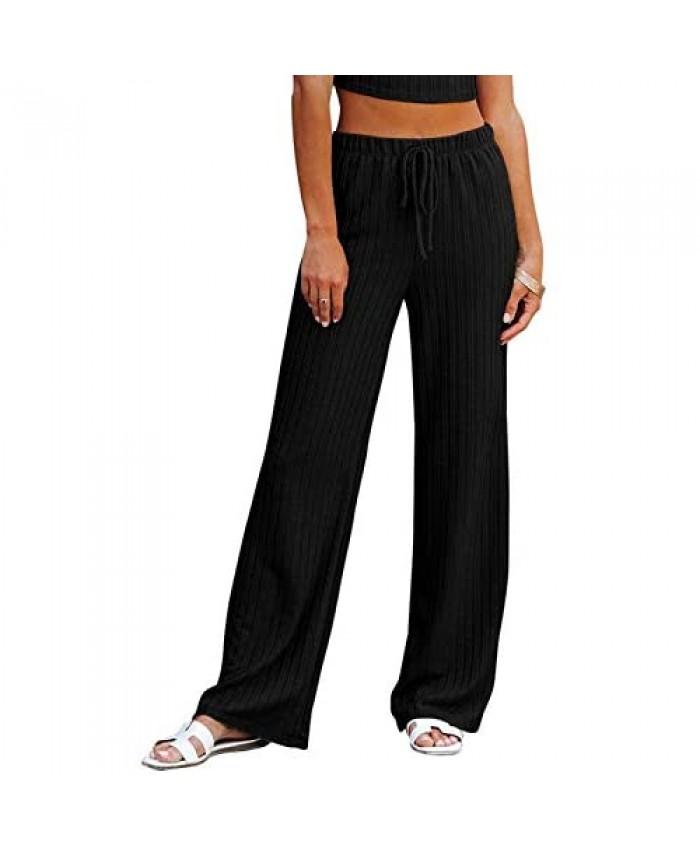 NIMIN Women's Casual Drawstring Waist Palazzo Lounge Pants Comfy Pajama Wide Leg Pants