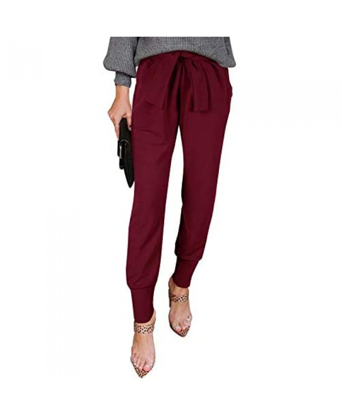 NIMIN Women's Casual Pants High Waist Self Tie Pants Solid Color Bottoms Skinny Pants with Pockets