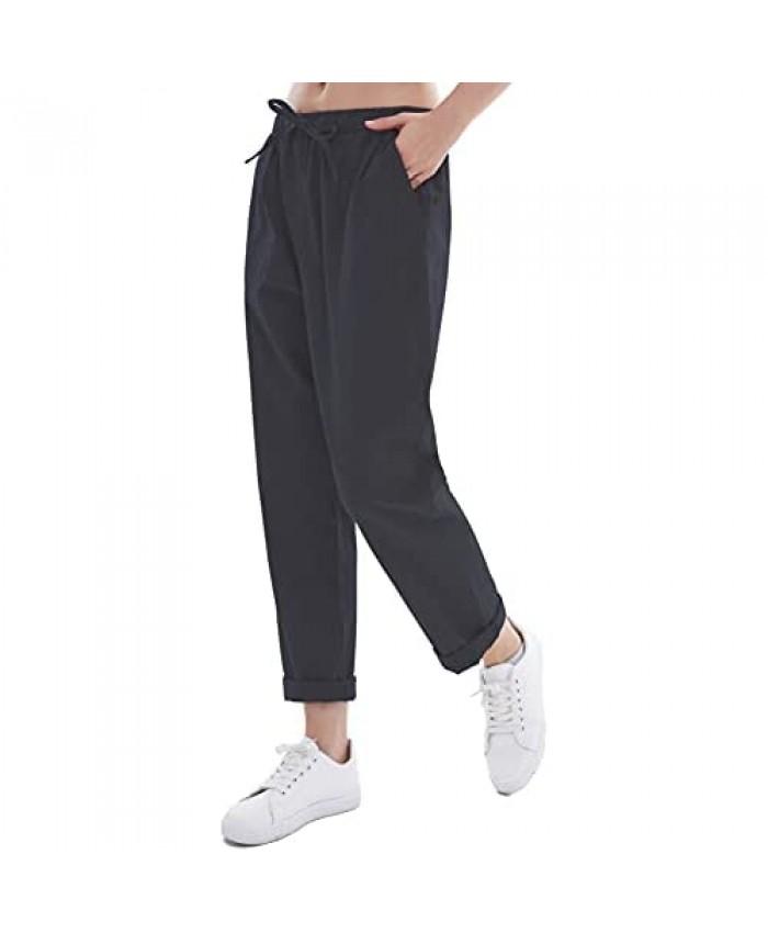 Women's Drawstring Linen Cropped Pants Women Summer Elastic Waist Soft Cotton Pant