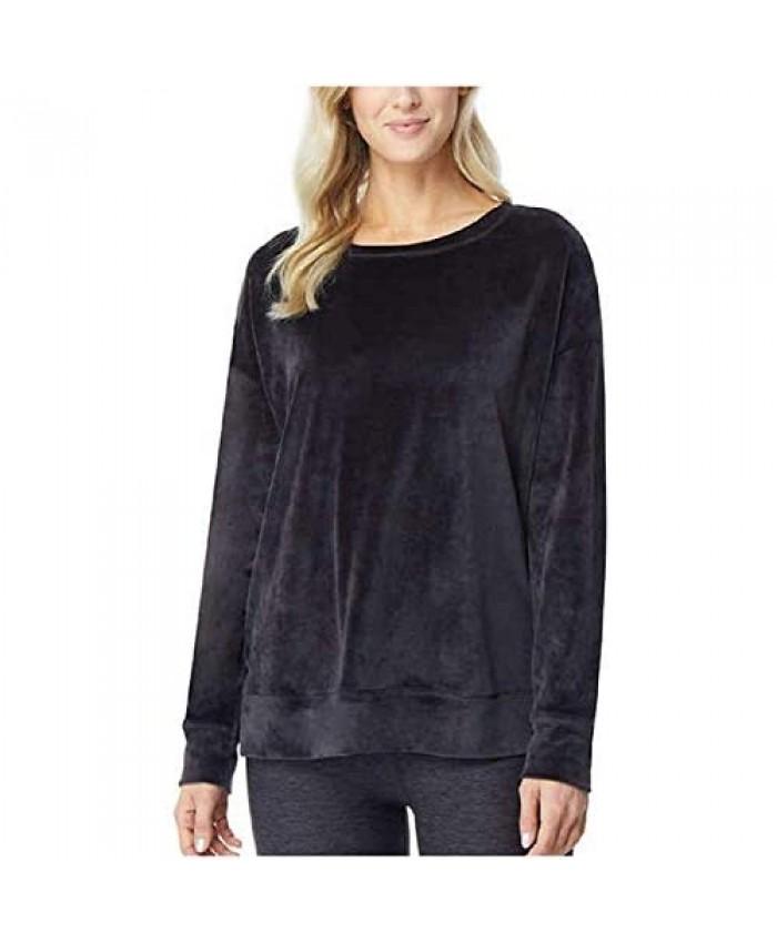 32 DEGREES Ladies' Crewneck Drop Shoulder Velour Pullover