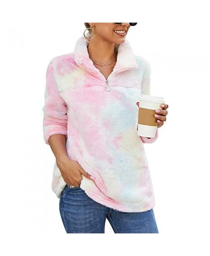 LOTUCY Women's Fluffy Fleece Oversized Sweatshirt Cozy Sweater Pullover Outwear