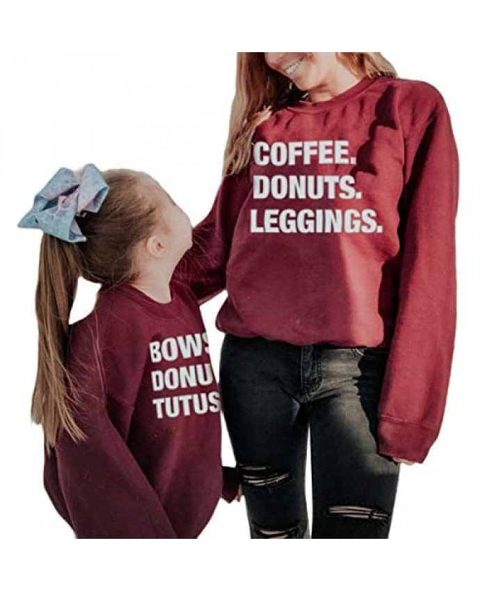 Mommy and Me Outfits Long Sleeve Funny Letter Print Sweatshirt Top Family Matching Shirt Fall Winter Clothes