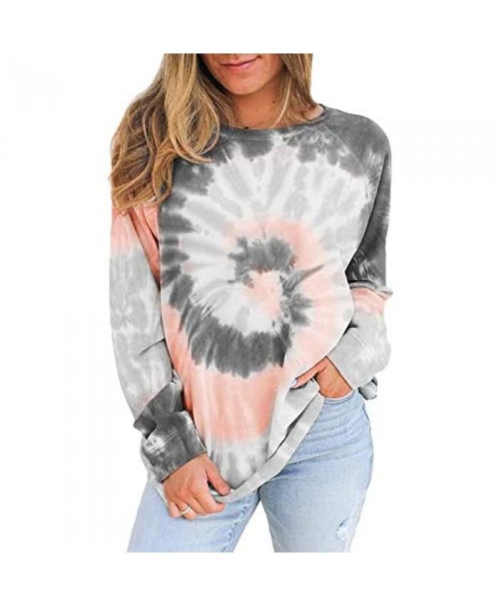 Womens Tie Dye Print Long Sleeve Sweatshirt Casual Crewneck Loose Pullover Tops Shirts Blouse