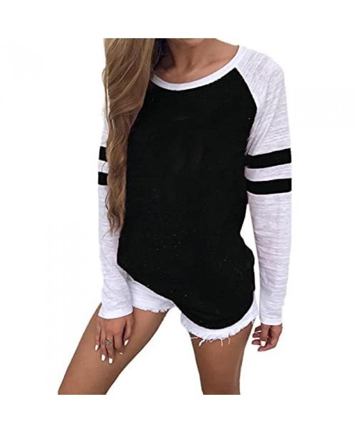YOTGAP Women's Tee Shirts Long Sleeve Blouses Baseball Colorblock Striped Tops Black S