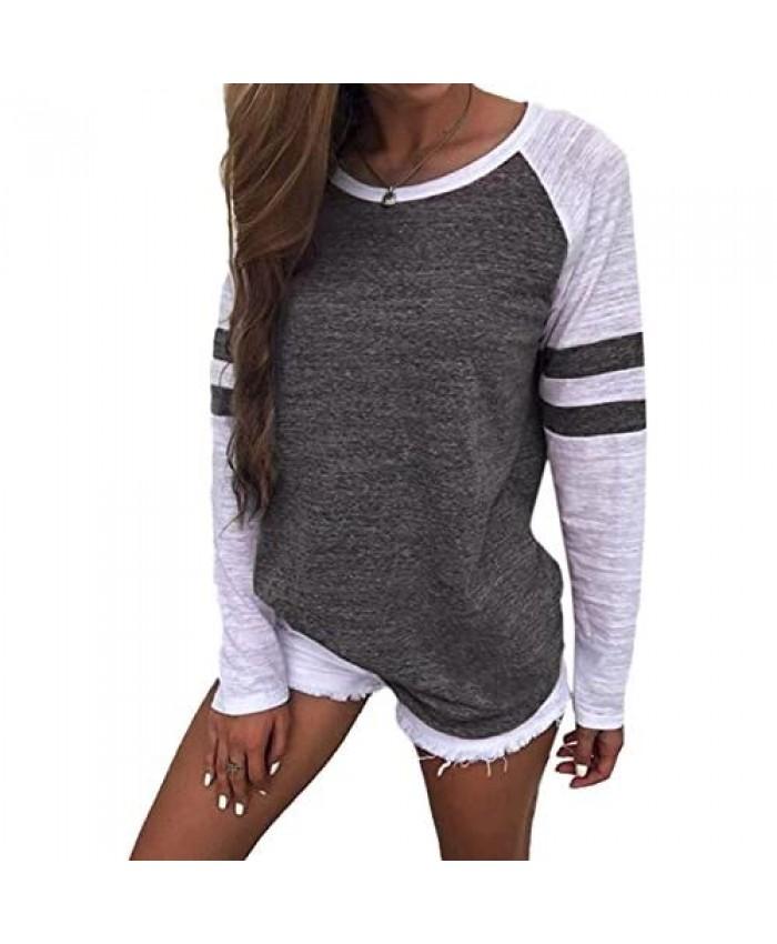 YOTGAP Women's Tee Shirts Long Sleeve Blouses Baseball Colorblock Striped Tops Dark Grey L