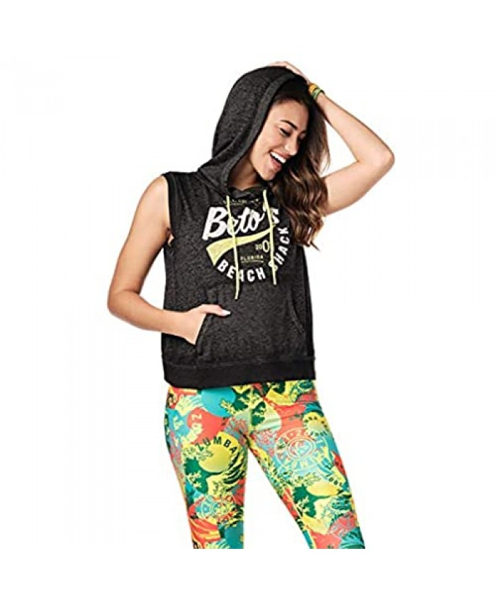 Zumba Active Gym Sleeveless Workout Fitness Pullover Hoodie Tank Tops for Women