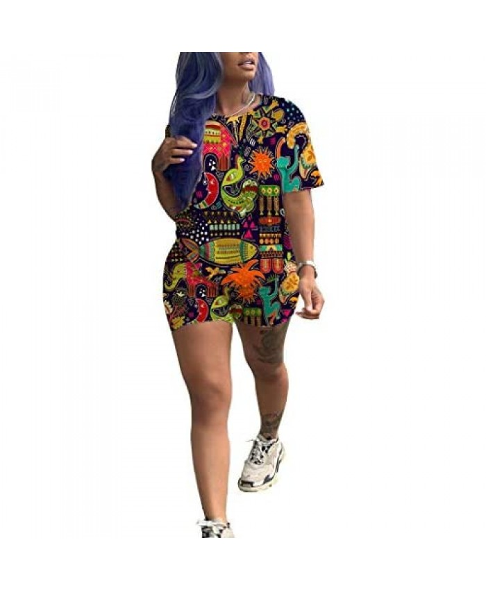 Annystore Short Set Outfit for Women - Casual Sport 2 Piece Short Sleeve Print Top Bodycon Short Pants Set