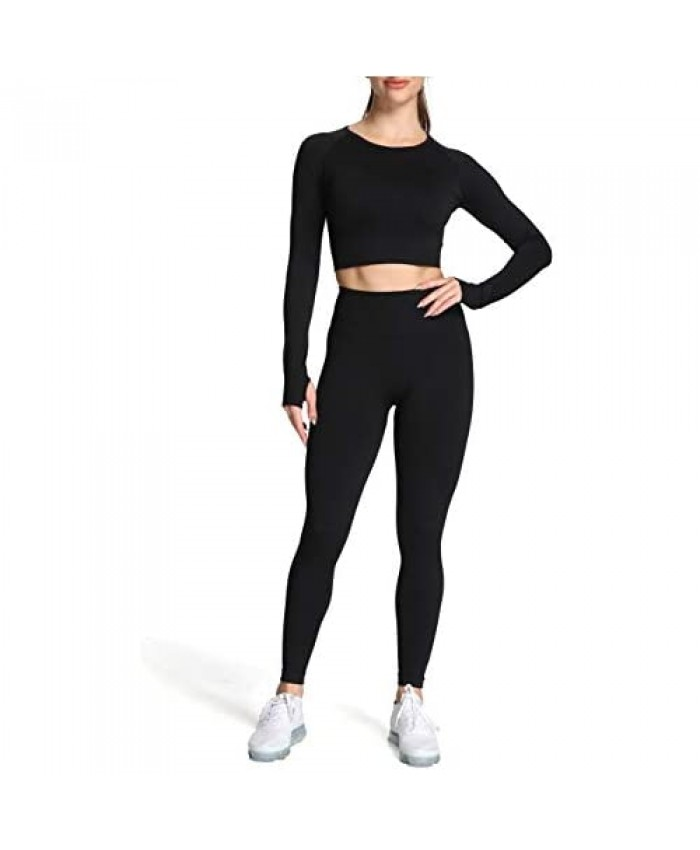 Aoxjox Yoga Outfit for Women Seamless 2 Piece Vital Workout Gym High Waist Leggings with Long Sleeve Crop Top Set