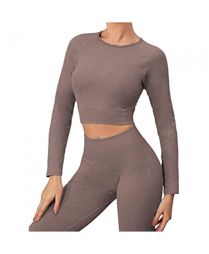 Buscando Workout Sets for Women 2 Piece Long Sleeve Ribbed High Waitst Athletic Legging Workout Outfits 2 Piece