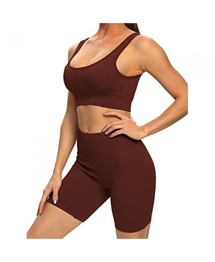 Buscando Yoga Workout Outfits Sets for Women 2 Piece Shorts-Seamless High Waist Leggings+Sports Bra Gym Clothes Sets