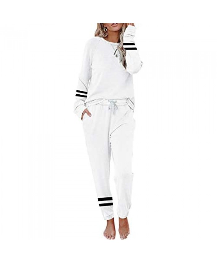 Eurivicy Women's 2 Piece Outfits Stripe Print Long Sleeve Pullover and Drawstring Sweatpants Loungewear Sweatsuit Set