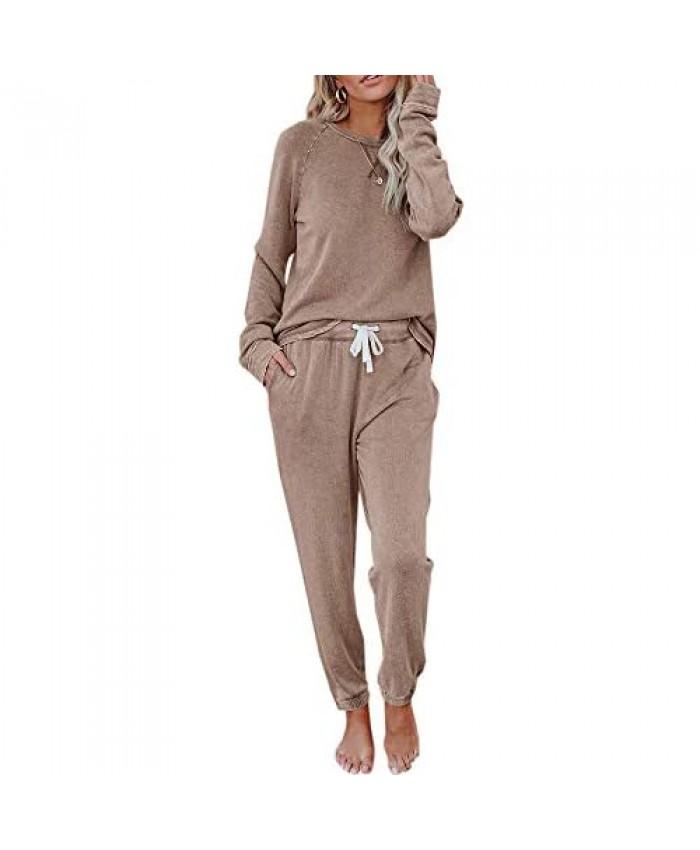 Fessceruna Womens Pajama Sets Long Sleeve Round Neck Top and Pants Loungewear Casual Loose Solid Sleepwear Nightwear