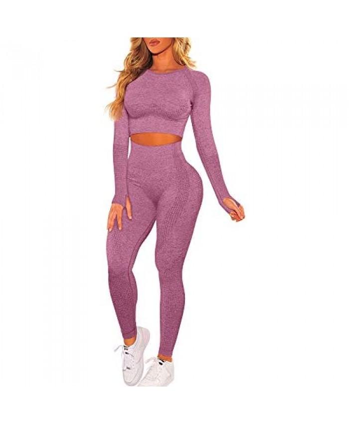 HYZ Women's Bodycon 2 Piece Outfits Long Sleeve Crop Top Stretch Tummy Control Legging