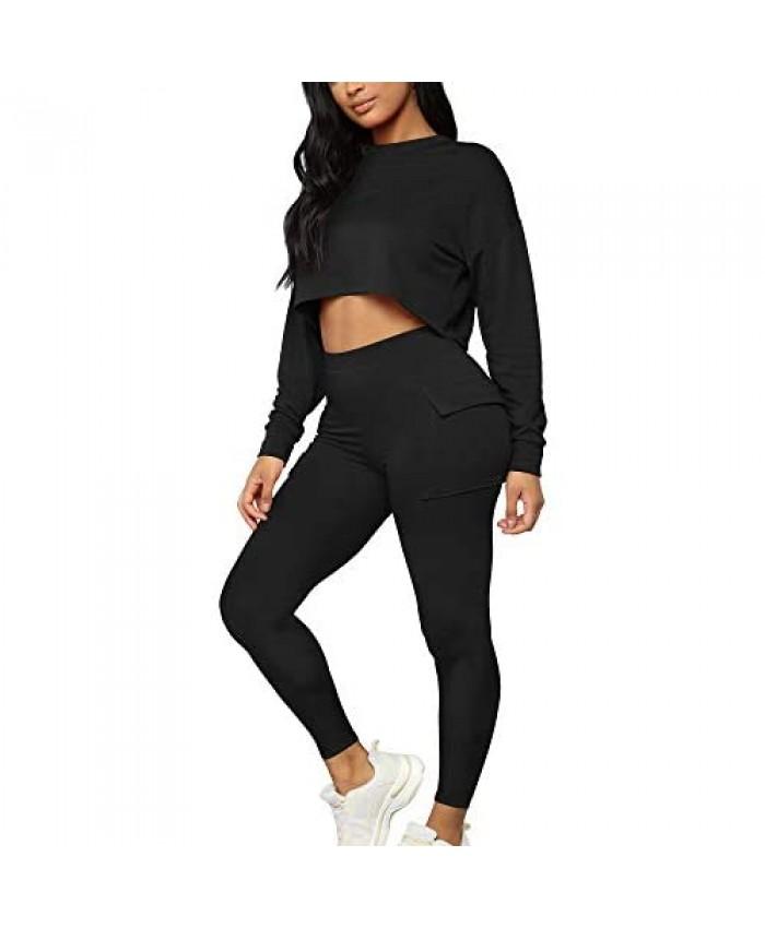 Kaximil Women's 2 Piece Outfits Crop Sweatshirt Long pants Jogger Set Bodycon Workout Tracksuit Sweatpants