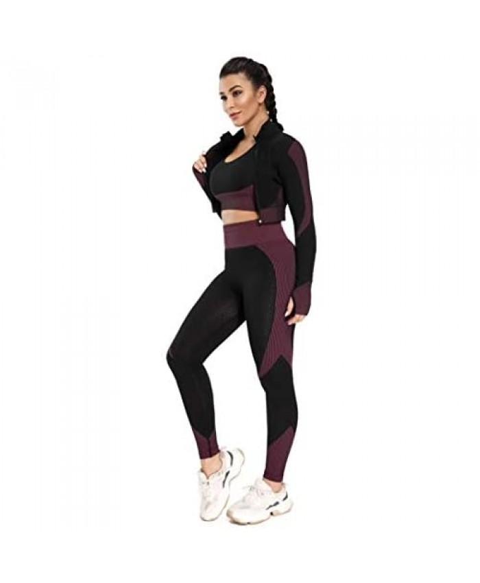 MANON ROSA Workout Sets Women 2 Piece Legging Zip Crop Top Seamless Yoga Outfits Clothes Tracksuit