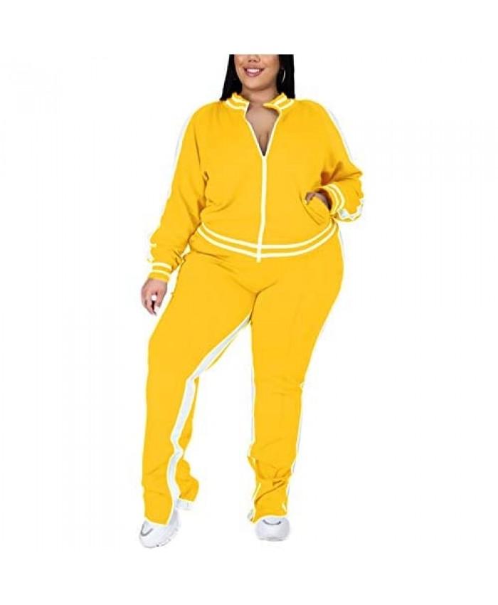 Plus Size Pants Sets - Stretchy Two Piece Outfit Plus Size Long Sleeve T Shirt Tops + Long Pants Joggers