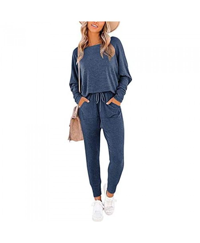 PRETTYGARDEN Women's Causal Two Piece Outfit Long Pant Sweatsuit Off Shoulder High Waist Loungewear Tracksuits With Pockets