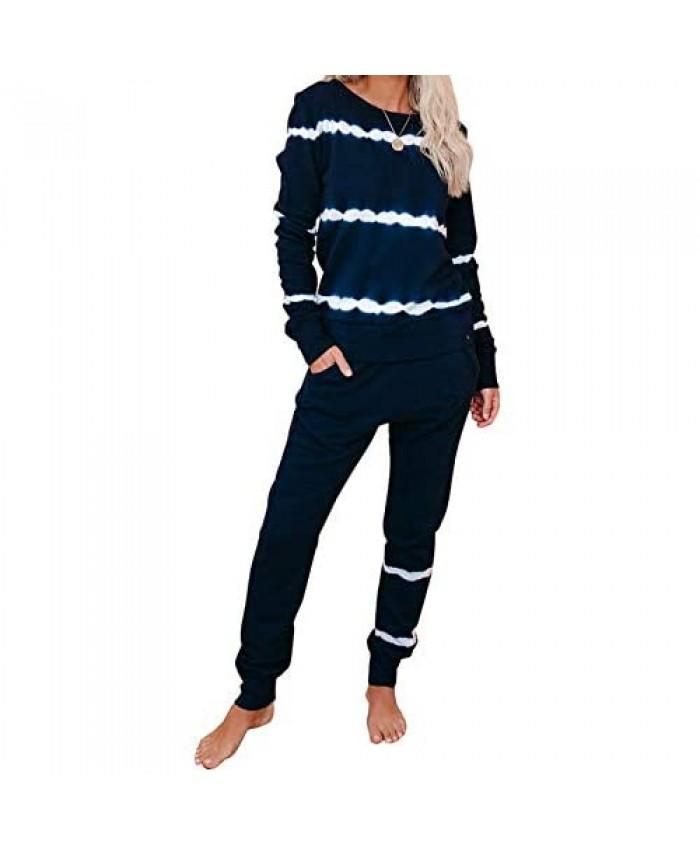 ROSKIKI Womens 2 Pieces Tie Dye Pajamas Set Sweatpants Sets Long Sleeve Pullover with Long Pants Sweatsuit Set