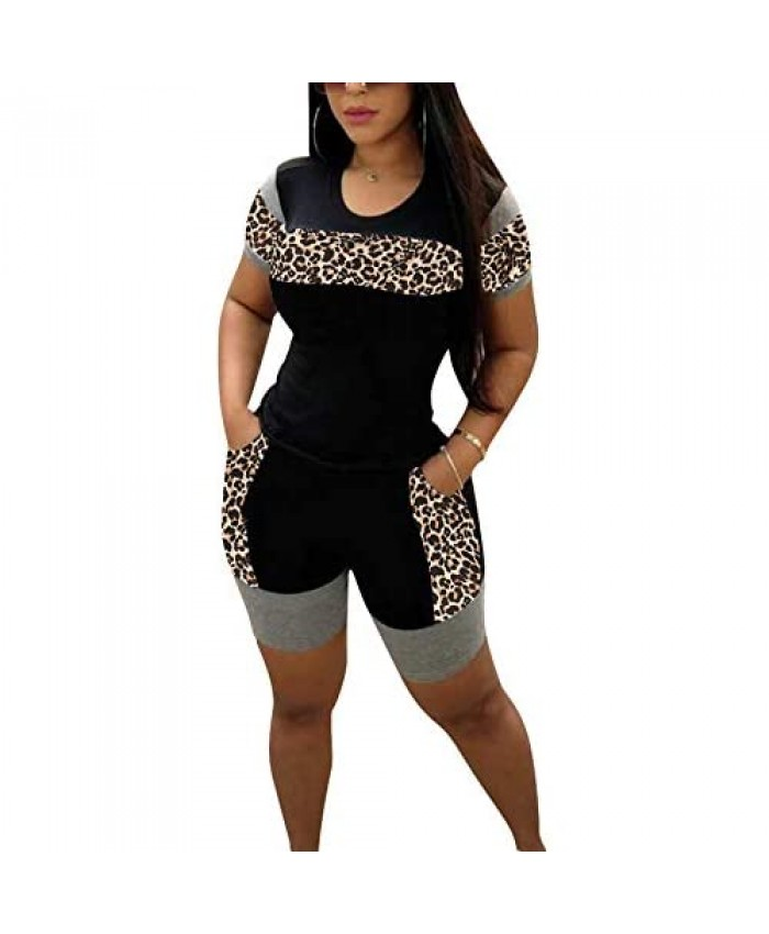 Sexy Leopard Print 2 Piece Outfit for Women Tracksuits Set Casual Plus Size Short Sleeve Sweatersuit and Pants Sets