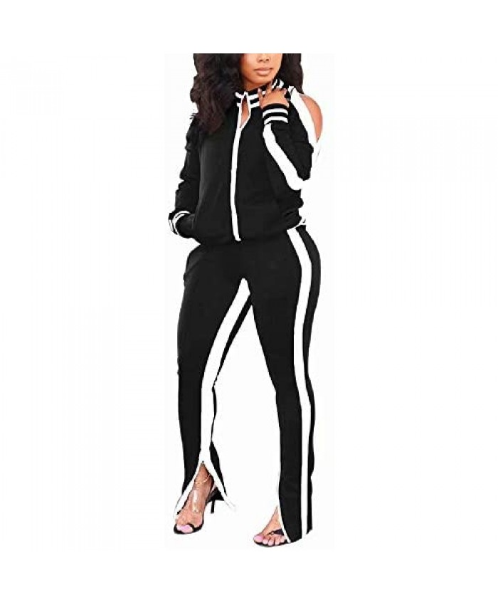 ThusFar Women's Two Piece Outfits Cold Shoulder Bodycon Jacket Pants Jogging Set Tracksuit Sportswear with Pockets Slit