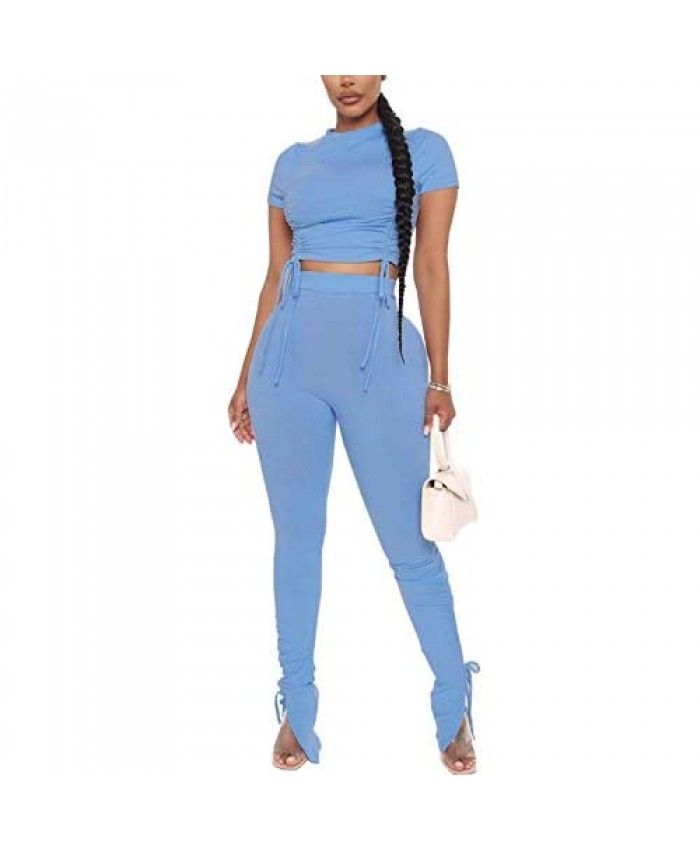 Women 2 Piece Outfits Sweatsuit - Sexy Ruched Ribbed Crop Top Skinny Pants Jogger Set Tracksuit