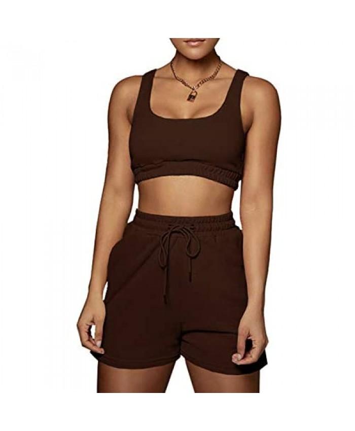 Women 2 Piece Outfits Tracksuit Set - Sleeveless Double Layer Crop Tank Top + High Waist Shorts Jogger Set