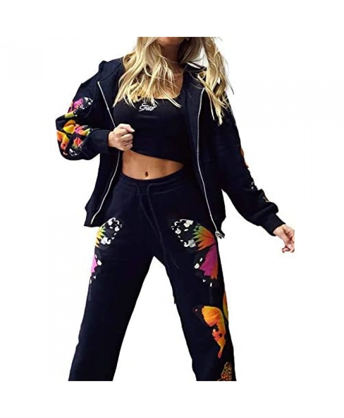 Women 2 Pieces Butterfly Printed Tracksuit Zipper Up Hoodies and Sweatpants Sportswear