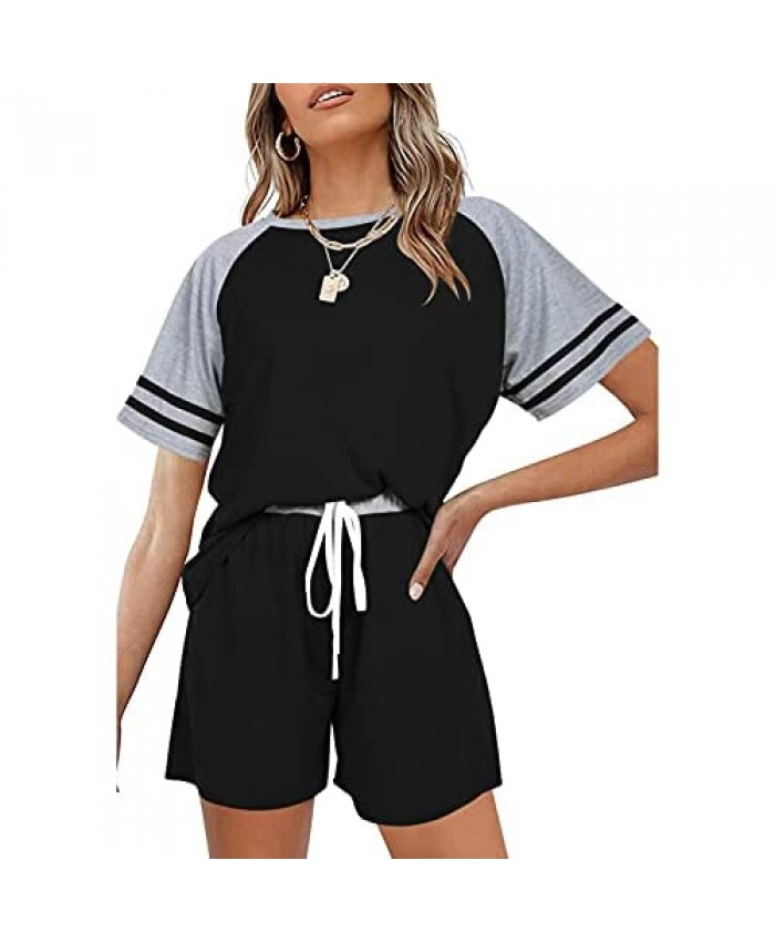 Womens Casual 2 Piece Outfits Short Sleeve Sets Color Top Short Pants Activewear Sports Yoga Suit Tracksuit