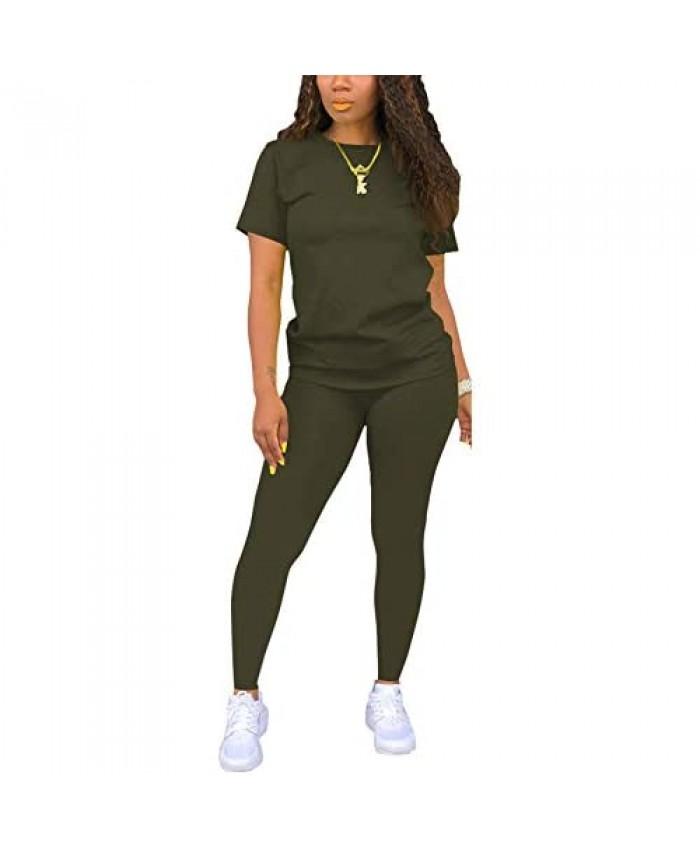Women's Casual 2 Piece Sport Outfits Short Sleeve T-Shirt Bodycon Long Pants Joggers Tracksuit Set Loungewear