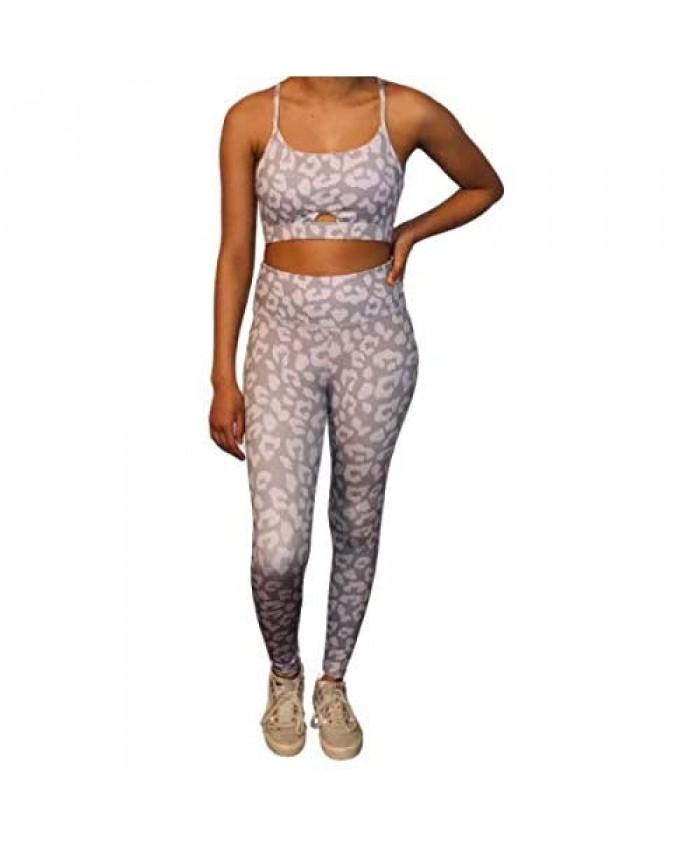 Women's Leopard Print Yoga Two Piece Suit…