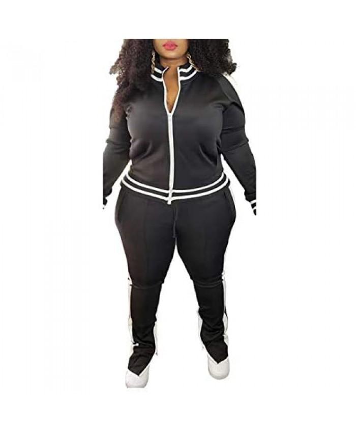 Women's Plus Size Jogging Suits Tracksuits Two Piece Stripe Cold Shoulder Sweatshirt & Long Pants Sweat Suits Sets