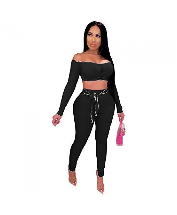 Women's Sexy 2 Piece Outfits Clubwear Off Shoulder Long Sleeve Crop Tops Bodycon Sweatpants Sweatsuit Jogger Set Tracksuit
