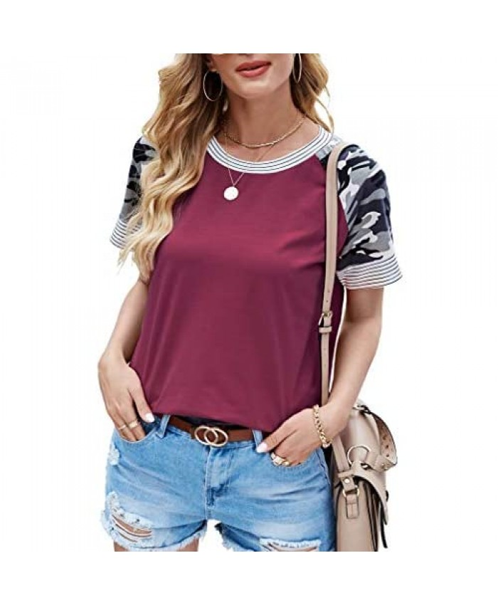 Aifer Women's Leopard Print Color Block Tunics Casual Long/Short Sleeve T Shirt Camo Striped Blouse Tops