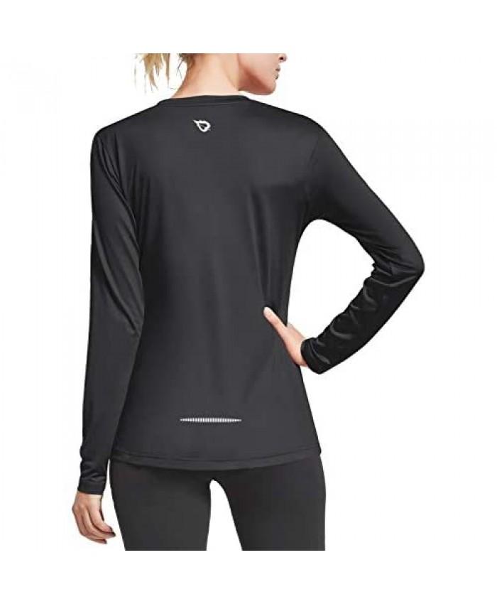 BALEAF Women's V Neck Long Sleeve Wicking Shirts Running Workout Athletic Tops Lightweight