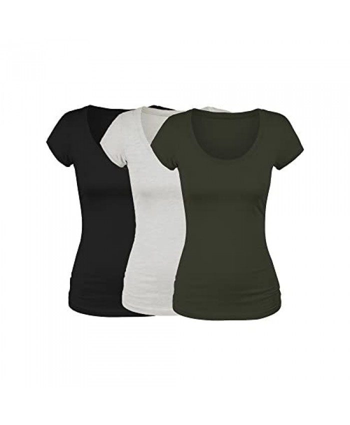 Emmalise Women's Short Sleeve Tshirt Scoop Neck Tee Value Pack Junior Plus Sizes
