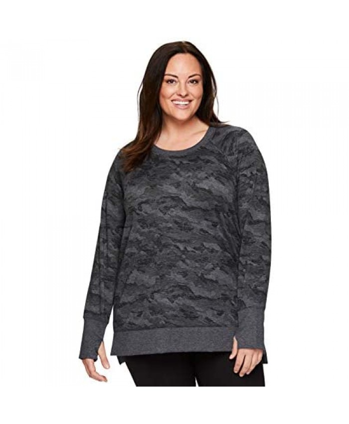 RBX Active Women's Plus Size Long Sleeve Relaxed Lightweight Pullover Sweatshirt Tunic