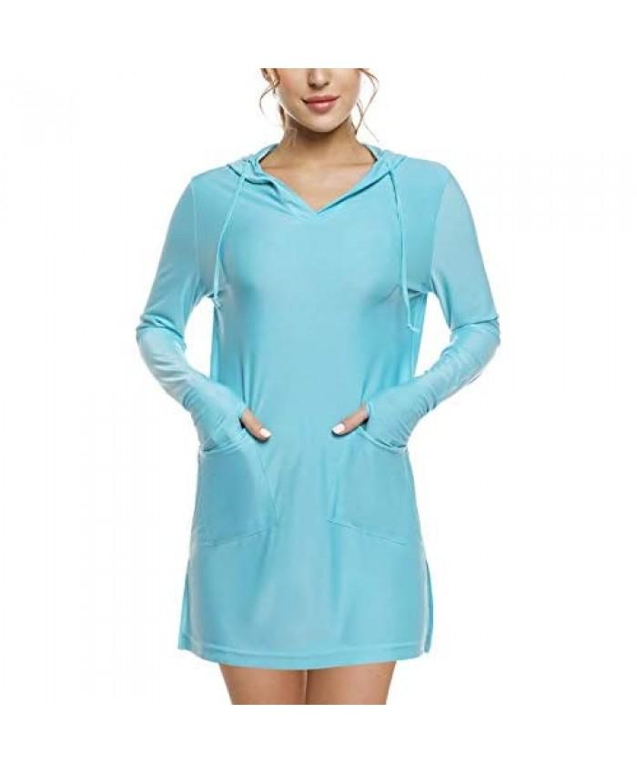 Sykooria Women's Long Sleeve Cover-Up Dress UPF 50+ UV Sun Protection Shirts SPF Hoodie Quick-Dry T-Shirt Outdoor Beach
