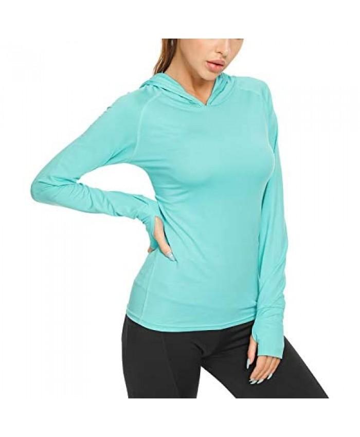 Women's UPF 50+ Sun Protection Hoodie Dry Fit Long Sleeve Shirts Swimming Running Hiking Fishing T-Shirts Lightweight