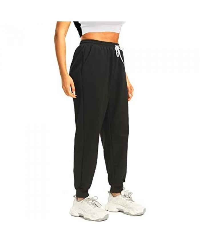 Ausook Sweatpants for Women with Pockets Black Joggers for Women High Waist Sweat Pants for Women Jogger Pants Lounge Pants