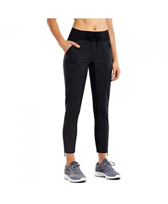 CRZ YOGA Women's Studio Joggers Striped Travel Lounge Pants Drawstring 7/8 Workout Casual Track Pants with Pockets Black X-Small
