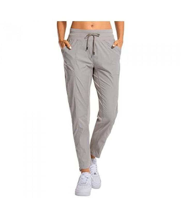 CRZ YOGA Women's Studio Joggers Striped Travel Lounge Pants Drawstring 7/8 Workout Casual Track Pants with Pockets Dark Chrome Medium