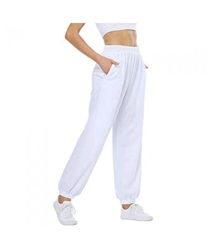 CYiNu Womens High Waisted Sweatpants Jogger Baggy Comfy Soft Casual Pants with Pockets for Yoga