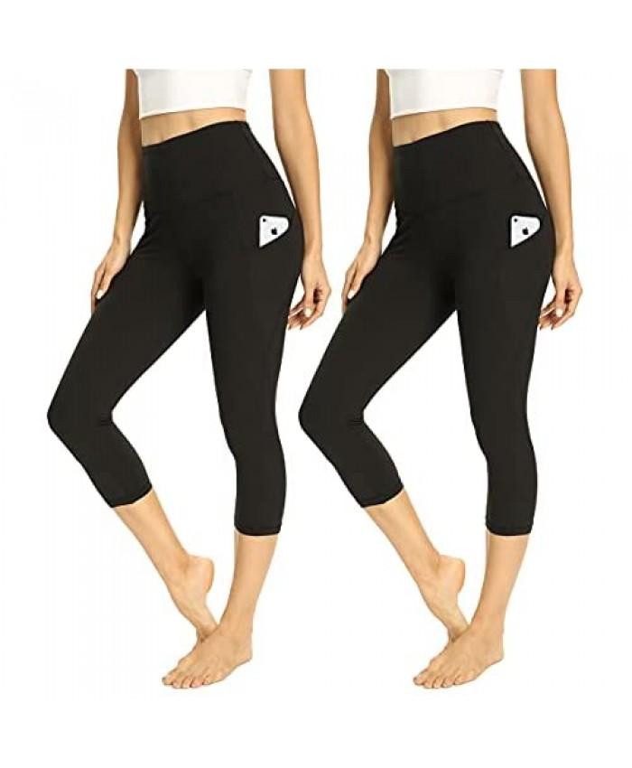 HIGHDAYS 2 Pack Capri Yoga Pants for Women - High Waist Soft Tummy Control Leggings for Workout Running