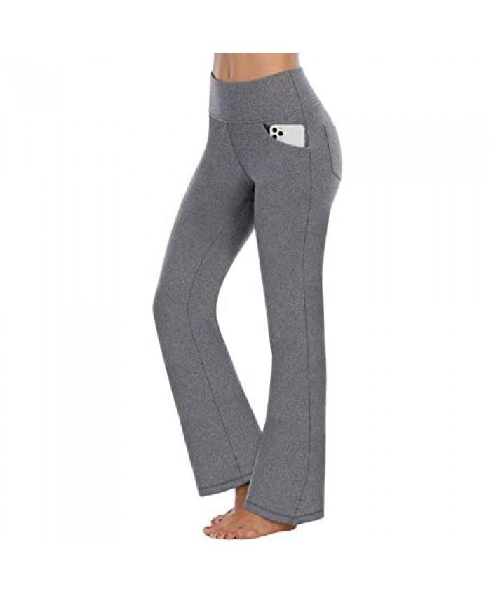 IUGA Bootcut Yoga Pants with Pockets for Women High Waist Workout Bootleg Pants Tummy Control 4 Pockets Work Pants for Women