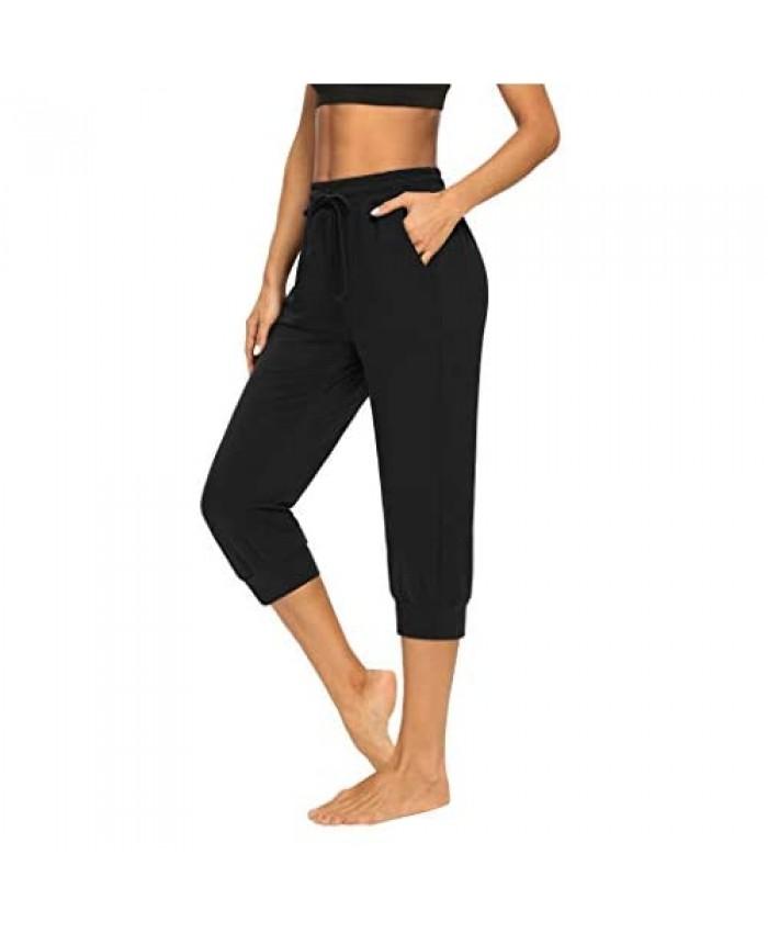 Sarin Mathews Womens Capri Yoga Pants Loose Comfy Workout Sweatpants Drawstring Joggers Lounge Pajama Pants with Pockets