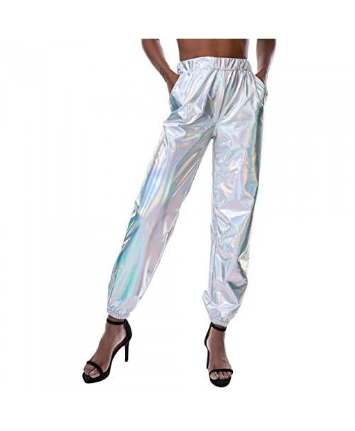SIAEAMRG Womens Shiny Metallic High Waist Stretchy Jogger Pants Wet Look Hip Hop Club Wear Holographic Trousers Sweatpant