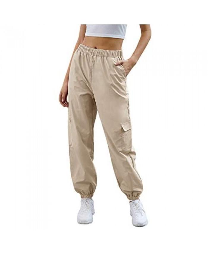SweatyRocks Women's Casual Drawstring Waist Jogger Workout Cargo Pants with Pockets