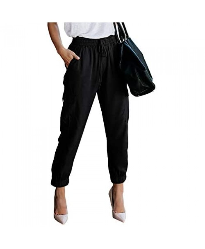 Women's Elastic Waist Cargo Casual Drawstring Pants Ankle Length Jogger Cropped Trousers