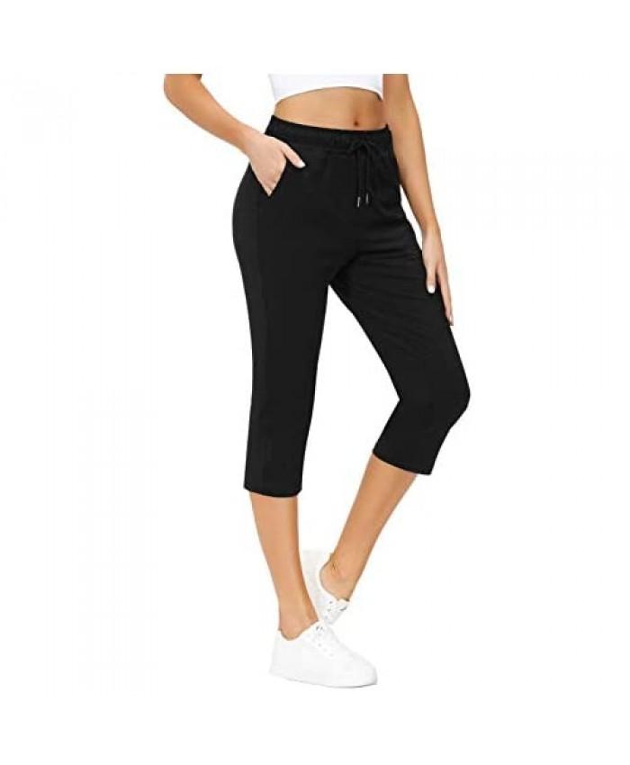 Yidarton Womens Yoga Pants Wide Leg Out Pocket Sport Capri Pants Drawstring Comfy Loose Lounge Workout Pants